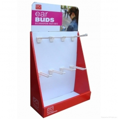 Ear Buds hanging Hook cardboard counter top display