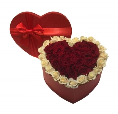 Hearted shape flower gift box with ribbon