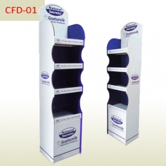 Dairy products retail 4 shelves cardboard floor display