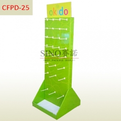 Free Standing Cardboard Pegboard Hanging Hook Display Racks,POS Cell Phone Cardboard Corrugated Hook two sides Display Stand