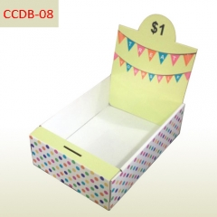 Charity Candy cardboard counter display box with coin container