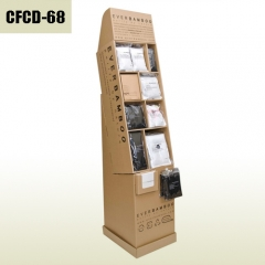 Bamboo charcoal fiber socks and T-shirt cardboard floor display stand